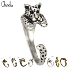 Cute Leopard Hedgehog Killer Whale Hippo Rhinoceros Grus Japonensis Crocodile Animal   Rings Wrap Punk Retro Rings For Women Gif