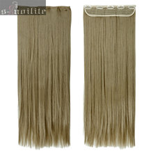 #24 Ash Blonde 58CM 145g Women Clip in Hair Extensions Half Full head Straight hair Extentions One Piece Heat Resistant Fiber(China)