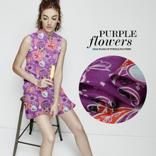 Glamorous fashion purple flower color printing with western style pure silk breathable silk cotton shirt fabric(China)
