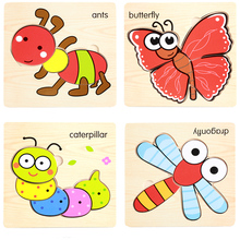 1 Pc Cute Cartoon Animal 3D Wooden Puzzles Intelligence Kids Educational Baby Gifts Brain Teaser Children Learning Jigsaw Toys(China)