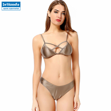 Brown Bandage Metallic Bikini Swimwear Women Low Waist Sexy Bottom Two Piece Swimsuit Push Up Top(China)