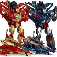 TOP Quality Hot 26cm Big Ir on Man Hero aircraft Transformation Plastic Robot Deformation Kids Education Toy Best Gifts For Kids(China)