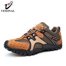 VESONAL Hot Sale Breathable Light Spring Summer Casual Sneakers Male Mesh Shoes For Men Cow Suede Leather Adult Walking Footwear(China)