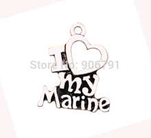 Antique Silver Series I Love My Marine letters Fashion Charms