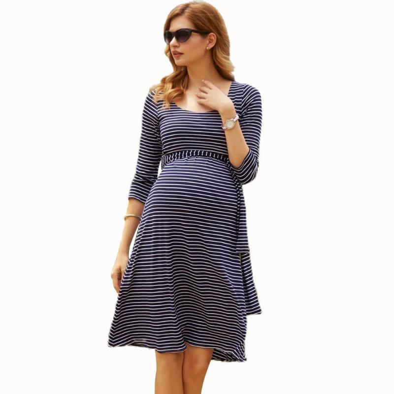 Maternity dress Women O-Neck Pregnants Photography Props Stripes Soft Silk Cotton Maternity Dress pregnant women Nursing dresses<br>