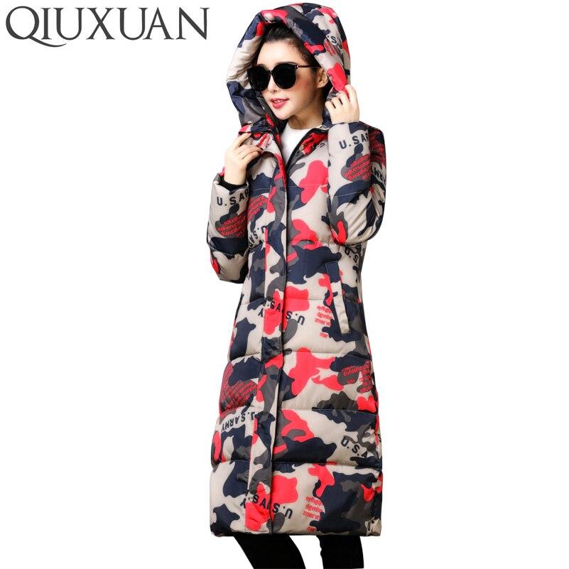 QIUXUAN Multi Pattern Design Female Overcoat Winter Warm Hooded X-Long Parkas Fashion Slim Cotton Padded Jacket Women CoatÎäåæäà è àêñåññóàðû<br><br>