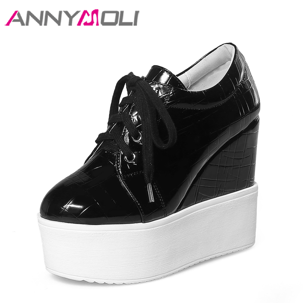ANNYMOLI Platform Shoes Women High Heels Lace Up Platform Wedges Black Extreme High Heels Punk Spring Shoes White Size 34-39<br>