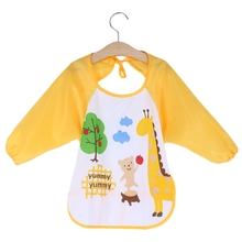 Qianquhui Baby Bibs Toddler Waterproof Long Sleeve Bib Apron Animal Smock Bib Burp Cloths Kids Feeding Eating Smock Accessories