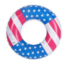USA Flag Inflatable Tube Ring Summer Swimming Pool Accessories Water Ring Baby Kids Toddler Children Arm Rings Float Raft Ring(China)