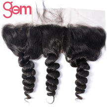 "GEM Beauty Hair Brazilian Loose Wave 13""x4"" Ear to Ear Lace Frontal 100% Human Remy Hair Closure Free Part Natural Hairline"