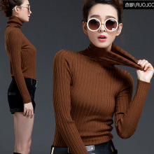 Thin Solid Wool Basic Women Sweater Slim Long Sleeve Flat Knitted Autumn Style All-Match Pullover Women Turtleneck Sweater MY03