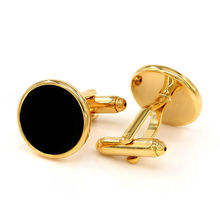 Black Onyx Cufflinks Gold-color Groomsmen Gifts Wedding Luxury Cuff Links(China)