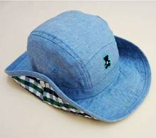 Baby Cowboy Hat  Kids Blue Jean  Sun Helmet Boy Summer Caps With Chin Strap Kids Bucket Hat 0-7Y