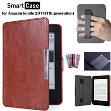 FMST case for new kindle touch 2014 7th generation  folio leather case for amzon founda kindle+screen protector+stylus