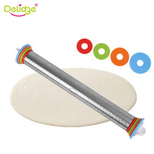 Delidge 1pc Stainless Steel Rolling Pin 4 Adjustable Discs Non-Stick Removable Rings Dough Dumplings Noodles Pizza Baking Tools(China)