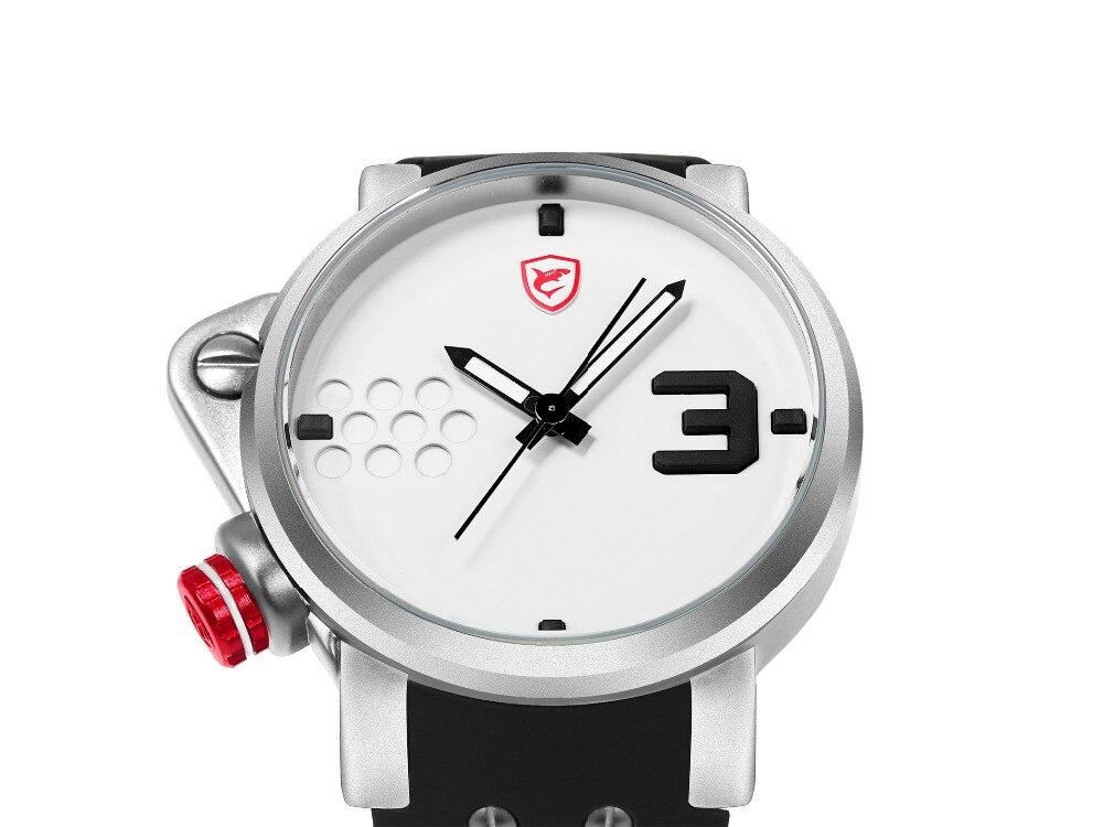 ปลาแซลมอนฉลามกีฬานาฬิกาดีไซน์เนอร์บิ๊กด้านซ้ายปุ่มกรณีควอตซ์นาฬิกาผู้ชายชายซิลิคอนวงReló... 15