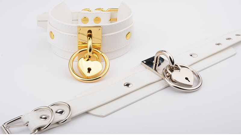 Lolita Harajuku White Leather Oversized Handcrafted Choker Golden O Round Band Padlock Lovely Lockable Heart Collar Necklace 9