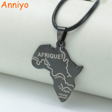 Anniyo Map of Africa Balck Pendant Rope 45cm,African Maps Jewelry Necklaces Nigeria,South Africa,Sudan,Ethiopian AFRIQUE #003721(China)