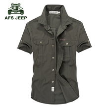 2017 AFS JEEP Summer Men's 100% Cotton Shirts Solid Color Dress Short Sleeve Shirts Casual BEST SELL Man Brand CLOTHES 62(China)