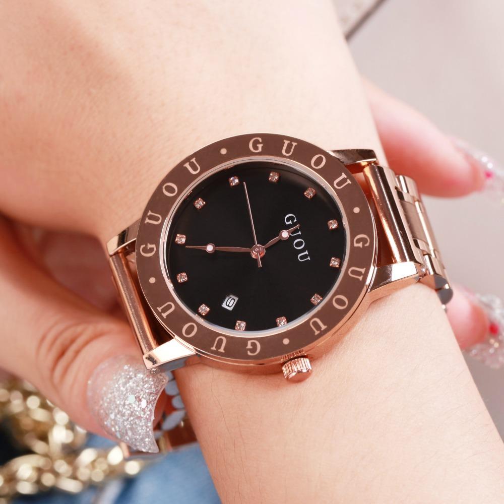 Fashion Womens Watches GUOU Top Luxury Brand  For Ladies Golden Quartz Clock Dress Wristwatches 2017 Hot  relogio feminino<br>