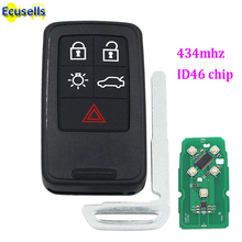 5 buttons Smart full Remote Key fob for Volvo XC60 S60 S60L V40 V60 434mhz id46 Chip with insert key blade