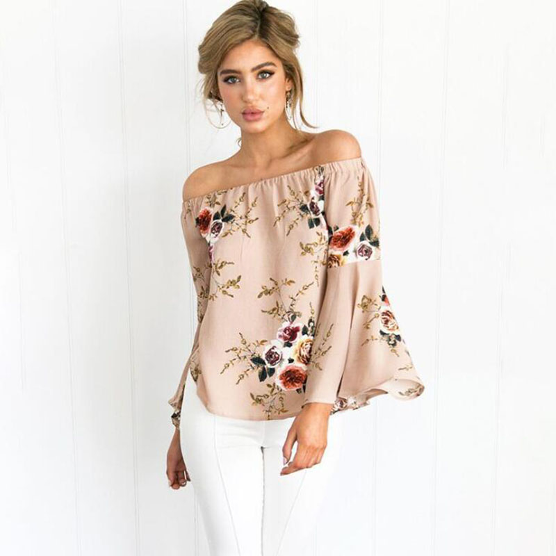 Casual Slash Neck Loose Blouse Summer Shirt Women Sexy Long Flare Sleeve Fashion Floral Print Blouses Blusas Off Shoulder Top(China)