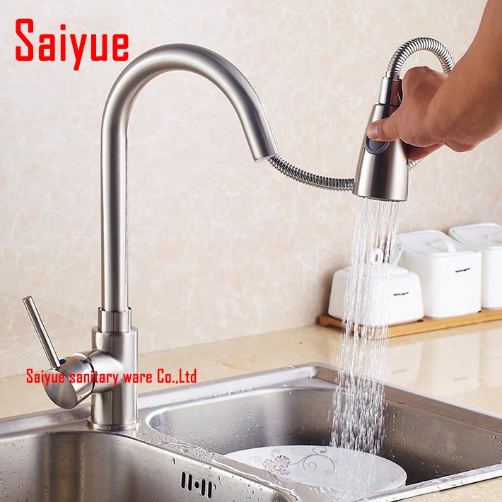 Nickel brushed and Chrome Finish Kitchen Sink Faucet Deck Mount Pull Out Sprayer Hot Cold Mixer Water Taps<br><br>Aliexpress