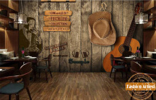 Custom wallpaper mural vintage guitar saxophone music concert wood poster wall tv sofa bedroom living room cafe bar restaurant