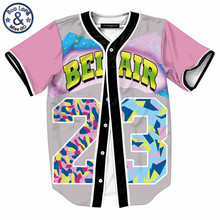 Mens Buttons Homme 3D Shirt Streetwear Tees Shirts Hip Hop Bel Air 23 - Fresh Prince Chill Flower Custom Made Baseball Jersey