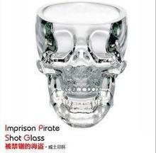"Free shipping 100pcs/lot Vodka glasses ""crystal skull"" Shot Glass cup wineglass/whsiky glasses(China)"