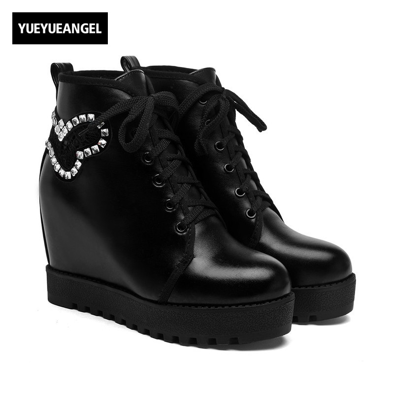 2018 New Arrival College Style Casual Comfort Lace Up Chaussures Femme Hidden Heel Crystal Lace Cute Ankle Boots For Women Black<br>