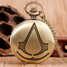 Steampunk Assassin's Creed Sci-Fi Movie Bronze Analog Quartz Pocket Watch Pendant Necklace Mens Womens Watches Chain Gift
