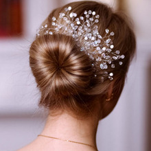 Metting Joura Wedding Party Romantic Crystal Faceted Beads Hair Comb Bride Bridal Crystal Rhinestone Pearl Hair Accessories(China)