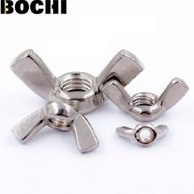 Free shipping 304/201/316 Stainless steel M3M4 M5 M6 M8 M10 M12 Hand Tighten Nut Butterfly Nut Ingot Wing Nuts(China)