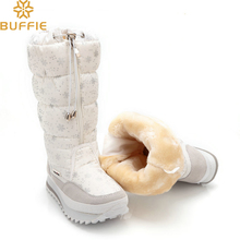 2017 Winter High Women Snow Boots plush Warm Lady shoe Plus size 35 to 42 easy wear zipper up girl white colour flower warm boot(China)