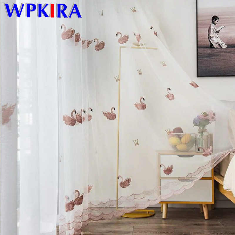 3D Cartoon White Swan Sheer Voile Curtain For Kid Children Bedroom Pink Luxury Tulle Curtain Baby Girl Room Blinds Drapes M062D3