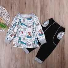 2pcs Toddler Kids Outfits Newborn Baby Boy Girl Clothes set Fox Customes t shirt +Pants Children Little Girls boys Clothing