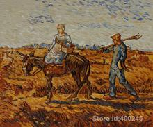 Online Art Gallery Vincent Van Gogh Handmade oil paintings Peasant Couple Going to Work High quality(China)