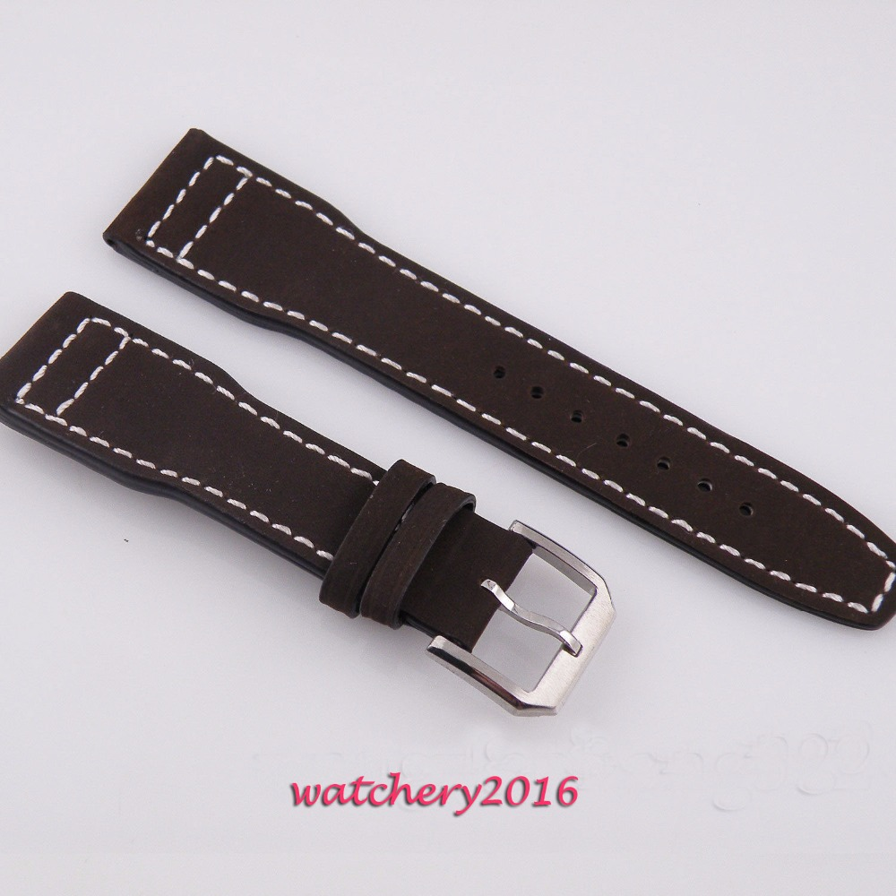 22mm genuine Leather Strap Wristwatch band fit parnis mens watch<br>