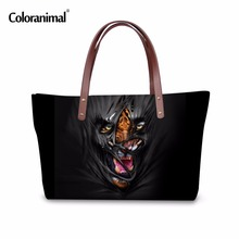 Coloranimal Cool Shoulder Bag for Women Print Tiger Top Handle Bags Casual Lady Girls Travel Tote Large Bag Female Messager Bags(China)
