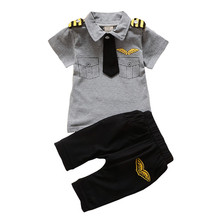 BibiCola Newborn baby boys Clothing Set Summer infant boy Pilot Clothes Cotton Kids Captain Costume Toddler military uniforms