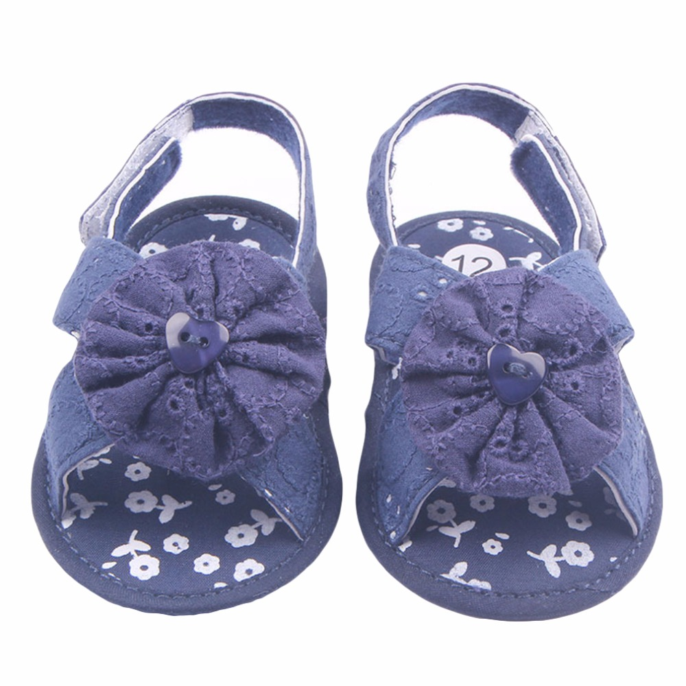 Summer Cotton Fabric Shoes Baby Girls First Walkers Hook&amp;Loop Solid Floral Toddler Skidproof Shoes Newborn 5 Colors 11-13cm<br><br>Aliexpress