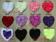 "Free Shipping 50pcs 3"" Chiffon Rosettes Heart Applique for Kids Hair Accessories,Valentine's Day Headband Flowers,Chiffon Heart"