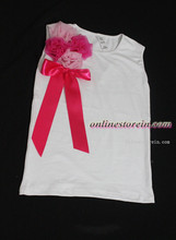 Chiffon flowers pink ribbon Baby girls pettitop kids girls cotton t shirt summer
