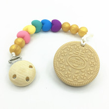 Silicone COOKIE TEETHER necklace ! silicone Teething Pacifier Perfect for Baby Shower Gift! Food Grade Teething Pendant clips(China)