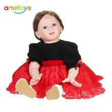 Silicon Baby Doll Baby Girl Doll with Long Brown Hair Clothes Wig Soft Silicone Vinyl Baby Doll Boneca 23inch 60cm Lifelike Doll(China)