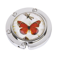 PHFU Ladies' Butterfly Pattern Folding Handbag Purse Hanger Hook for Table
