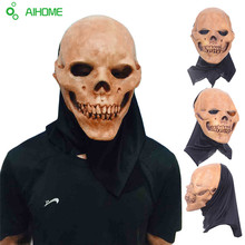 Scary Party Masks Latex Skull Mask Adult Full Head Face Breathable Halloween Mask Fancy Dress Party Cosplay Costume Theater Toy