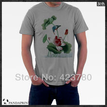 Guohua Flower Lotus Top Lycra Cotton men's t-shirt T Shirt High Quality
