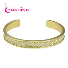 Kayshine Punk Rock Full Rhinestone Individual Gold-Color Bangles Open Cuff Bracelet Bangles for Women